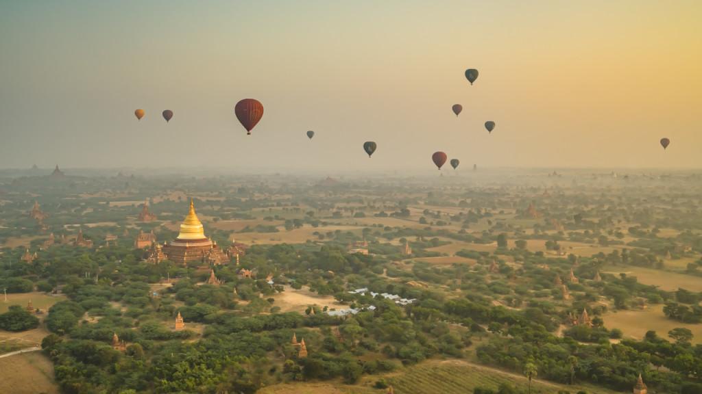 Bagan, Myanmar, Balloons, Pagodefield, Pagode, Sehenswürdigkeiten in Bagan