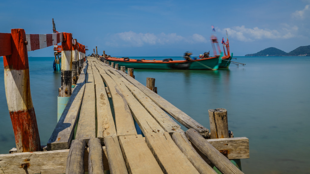 Rabbit Island, Pier, Boat, Sea, Clouds, Cambodia