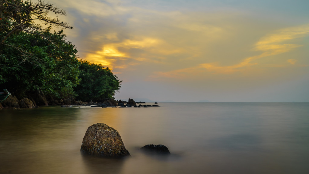Rabbit Island, Sunset, Sunsrise, Sea, Clouds, Cambodia, Stone