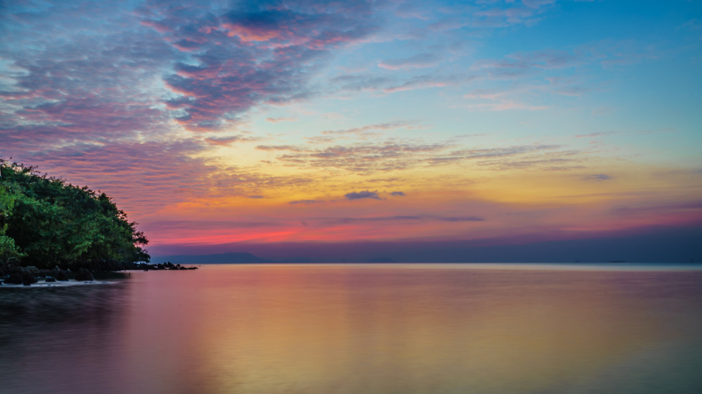 Rabbit Island, Sunset, Sunsrise, Sea, Clouds, Cambodia