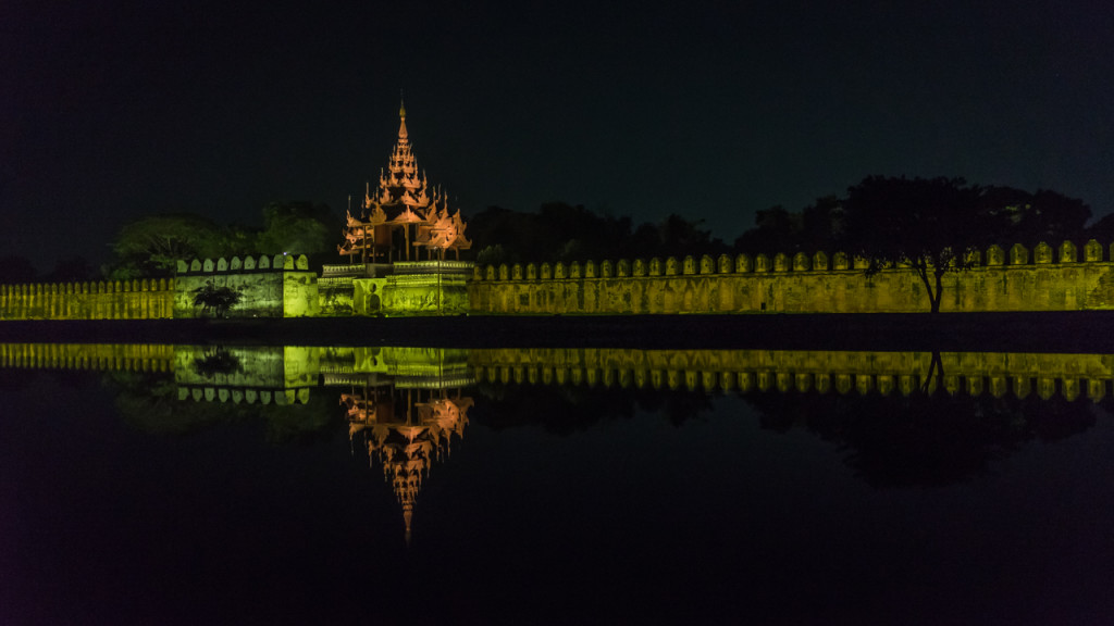 Mandalay Palaca, Mandalay, Night, Myanmar