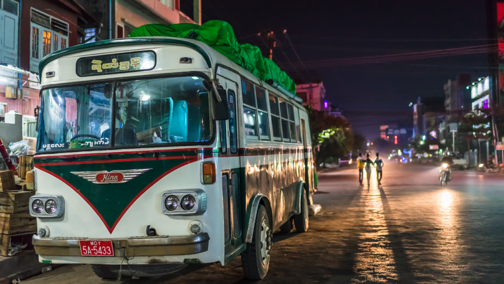 Mandalay, City, Night, Bus, Myanmar